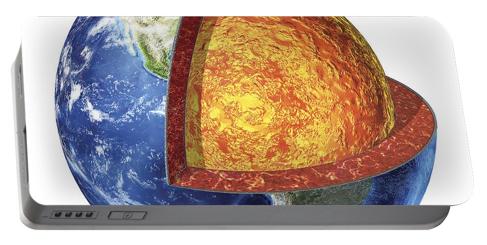 Core Portable Battery Charger featuring the digital art Cross Section Of Planet Earth Showing by Leonello Calvetti