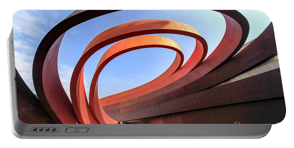 Abstract Portable Battery Charger featuring the photograph Design Museum Holon by Vladi Alon