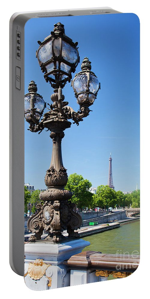 Paris Portable Battery Charger featuring the photograph Eiffel Tower And Bridge On Seine River In Paris by Michal Bednarek