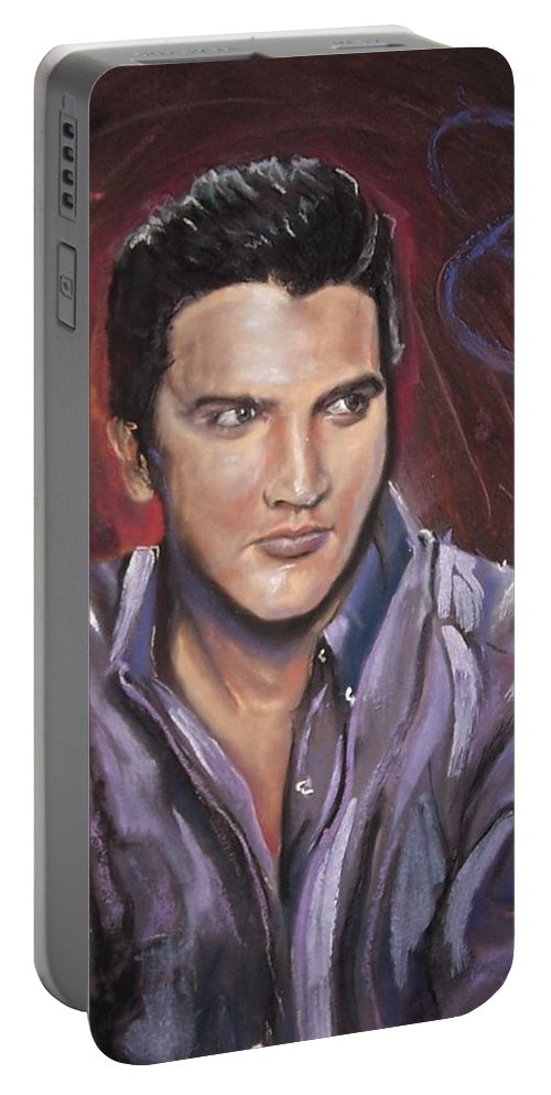 Portrait Portable Battery Charger featuring the mixed media Elvis by Peter Suhocke