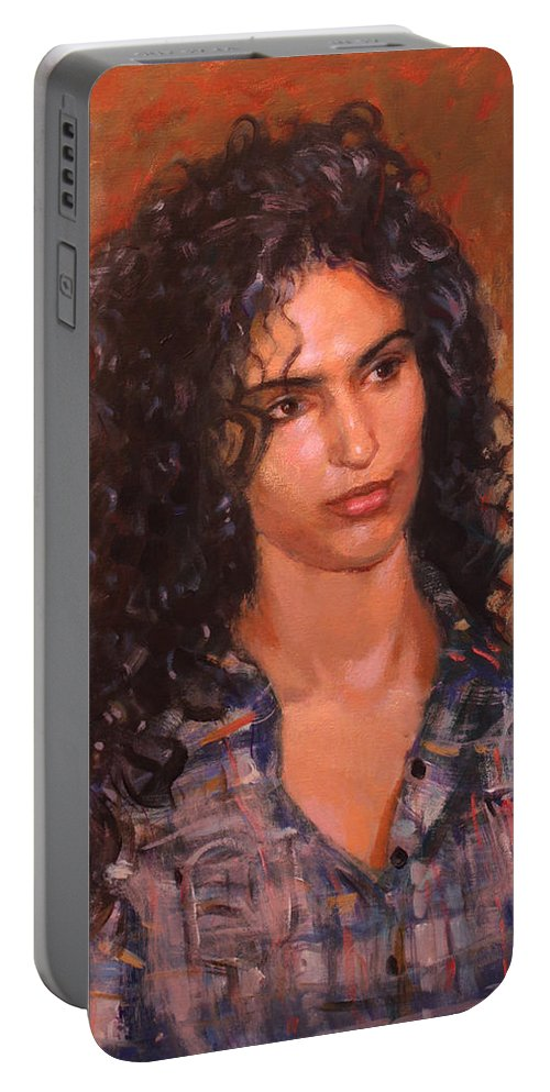 Portrait Portable Battery Charger featuring the painting Erbora by Ylli Haruni