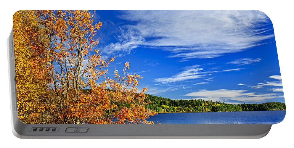 Lake Portable Battery Charger featuring the photograph Fall Forest And Lake by Elena Elisseeva