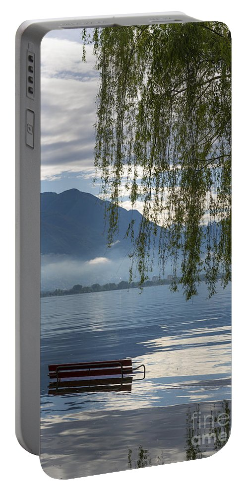 Bench Portable Battery Charger featuring the photograph Flooding Lake by Mats Silvan