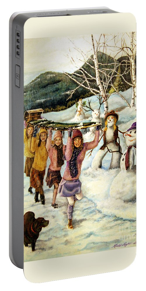 Dog Portable Battery Charger featuring the painting Frosty Frolic by Linda Simon