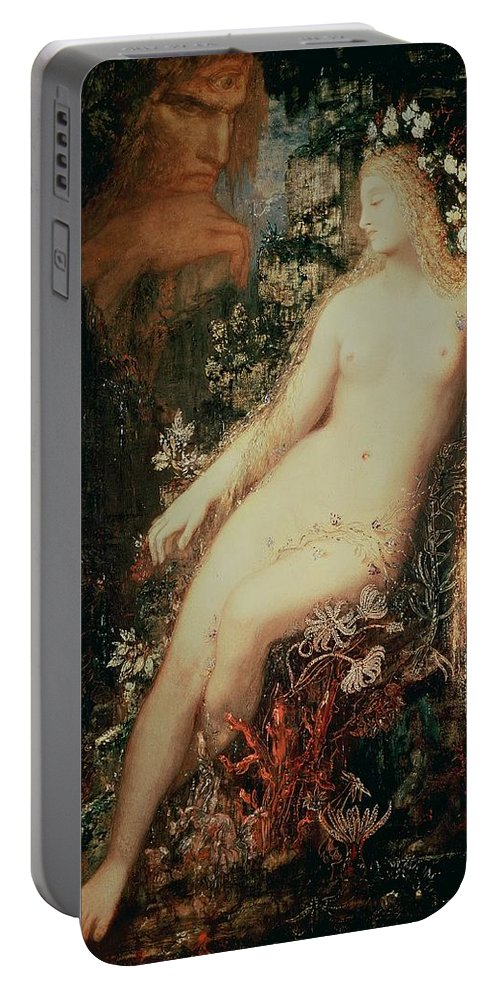 Nude; Female; Flowers; Nereid; Sea Nymph; Nymphe; Galatee Portable Battery Charger featuring the painting Galatea 3 by Gustave Moreau