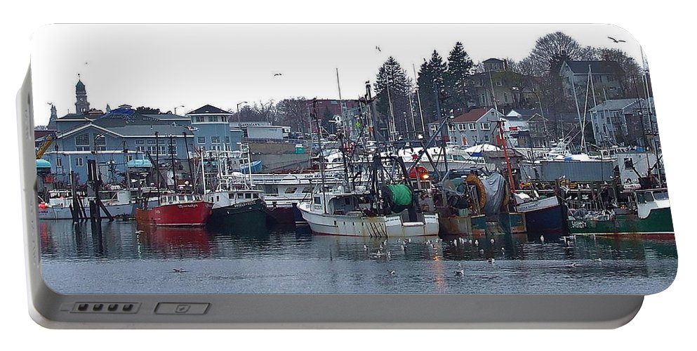 Gloucester Portable Battery Charger featuring the photograph Gloucester Fishing Boats by Susan Wyman