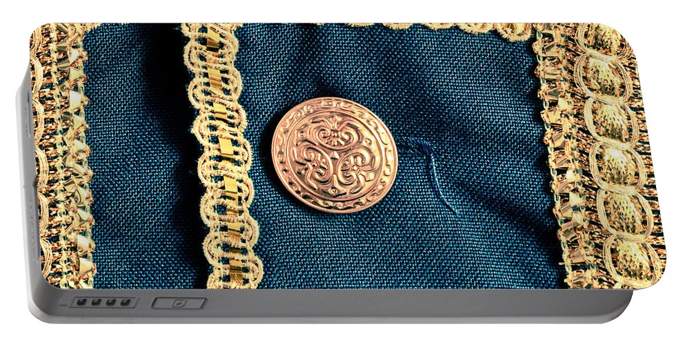 Background Portable Battery Charger featuring the photograph Golden Buttons by Tom Gowanlock
