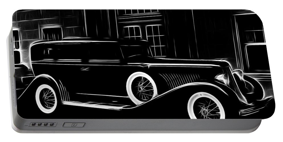 Old Oldtimer Classic Car Vehicle Black White 30 30s Golden Times Painting Portable Battery Charger featuring the painting Golden Times by Steve K