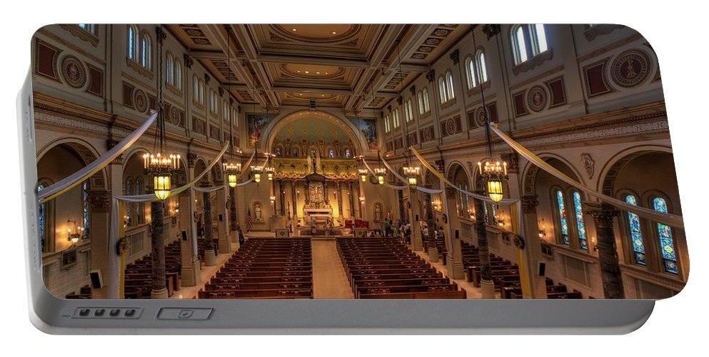 Mn Church Portable Battery Charger featuring the photograph Holy Cross Catholic Church by Amanda Stadther