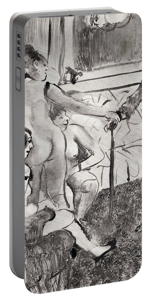 Interior Portable Battery Charger featuring the drawing Illustration From La Maison Tellier By Guy De Maupassant by Edgar Degas