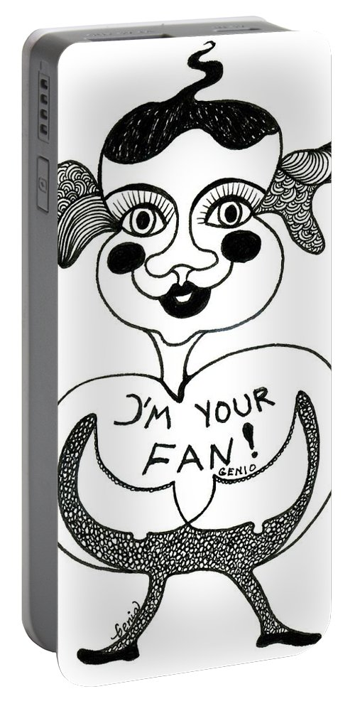 Genia Portable Battery Charger featuring the drawing I'm Your Fan by Genia GgXpress