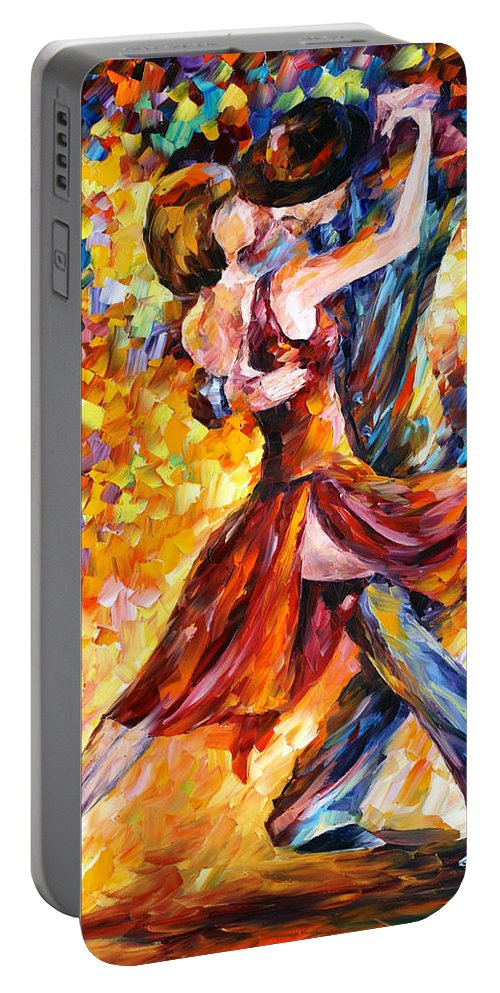 Tango Portable Battery Charger featuring the painting In The Rhythm Of Tango by Leonid Afremov