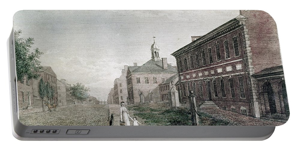 1798 Portable Battery Charger featuring the photograph Independence Hall, 1798 by Granger