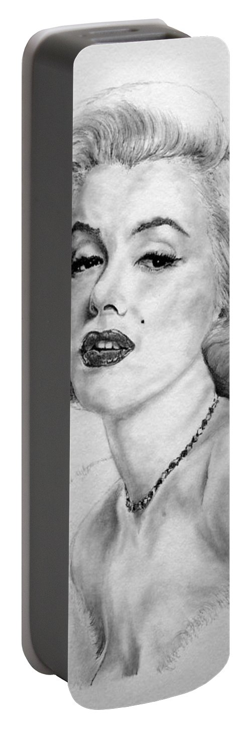 Marilyn Monroe Portable Battery Charger featuring the drawing Marilyn by Roy Anthony Kaelin