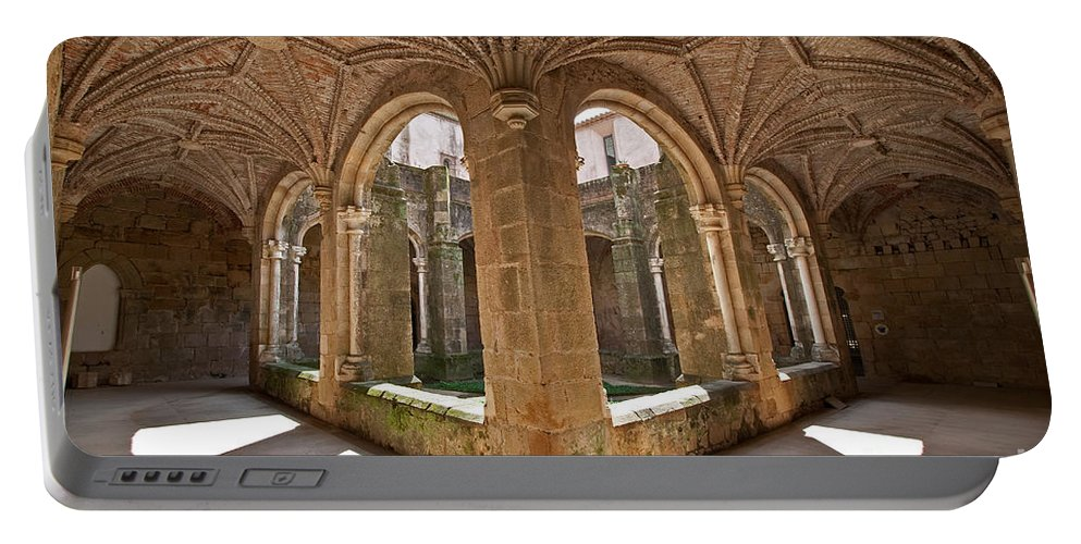 Cloister Portable Battery Charger featuring the photograph Medieval Monastery Cloister by Jose Elias - Sofia Pereira