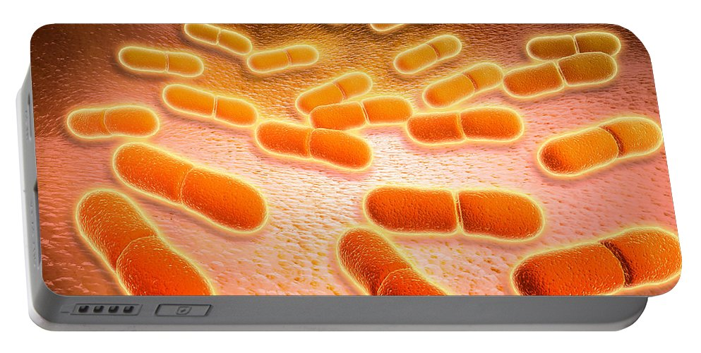 Molecular Biology Portable Battery Charger featuring the digital art Microscopic View Of Listeria by Stocktrek Images