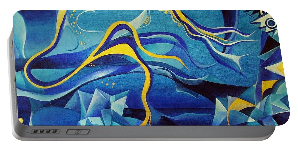 Orpheus Eurydike Greek Mth Claudio Monteverdi Music Abstract Acrylic Portable Battery Charger featuring the painting Orpheus And Eurydike by Wolfgang Schweizer