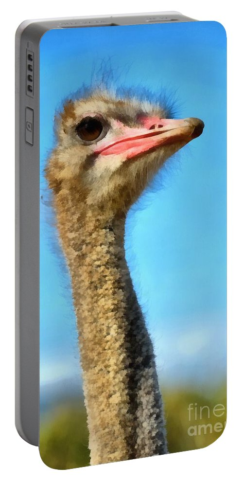 Ostrich Portable Battery Charger featuring the painting Ostrich by George Atsametakis
