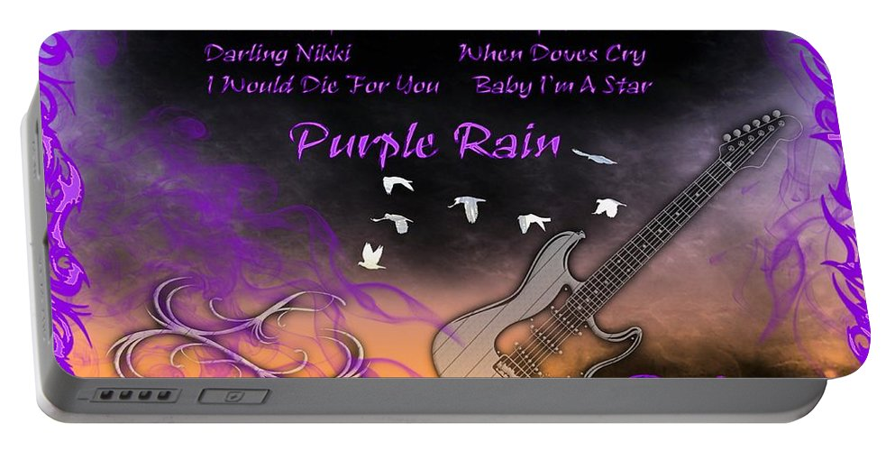 When Doves Cry Portable Battery Charger featuring the digital art Purple Rain by Michael Damiani