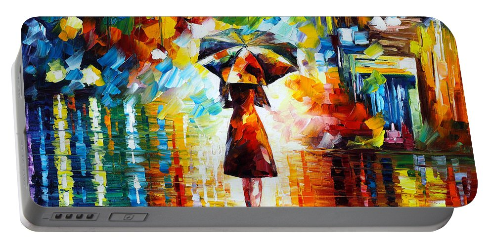 Rain Portable Battery Charger featuring the painting Rain Princess by Leonid Afremov