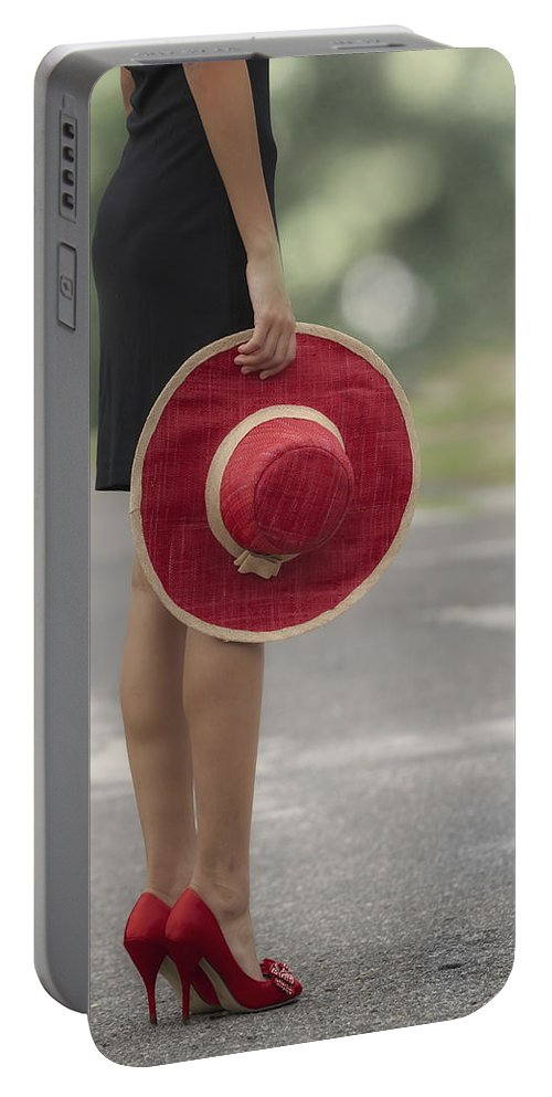Girl Portable Battery Charger featuring the photograph Red Sun Hat 3 by Joana Kruse
