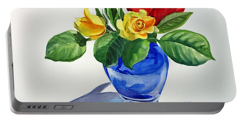 Red Portable Battery Charger featuring the painting Roses by Irina Sztukowski