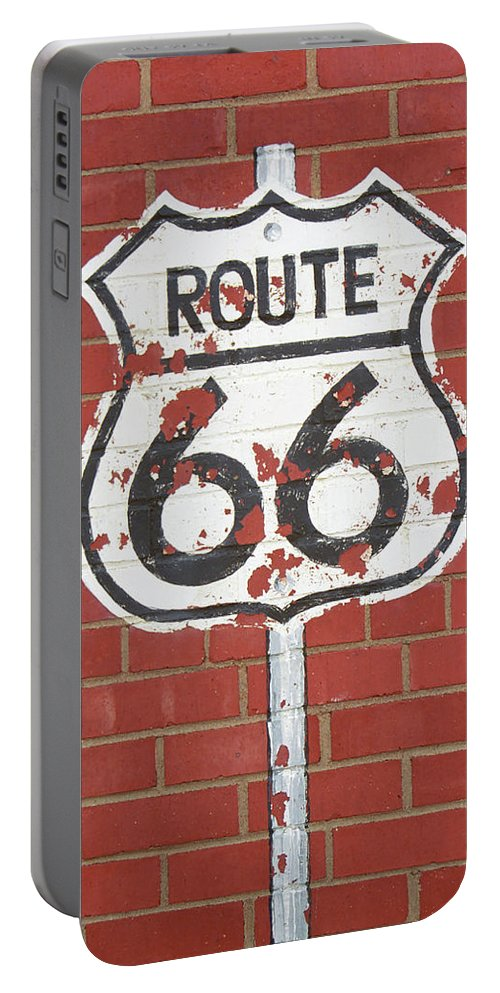 66 Portable Battery Charger featuring the photograph Route 66 Shield by Frank Romeo