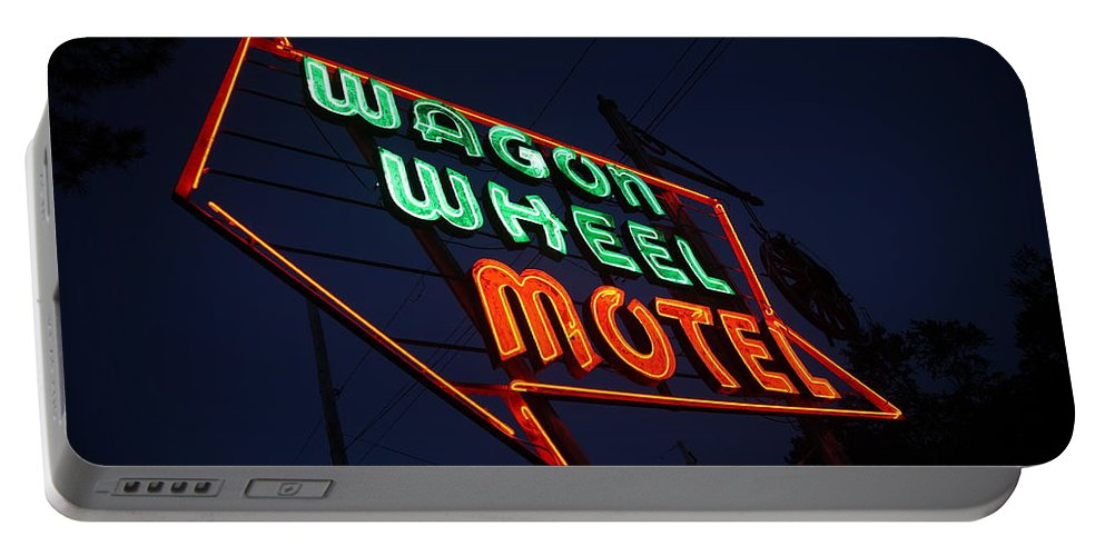 66 Portable Battery Charger featuring the photograph Route 66 - Wagon Wheel Motel by Frank Romeo