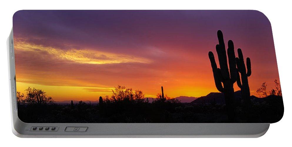 Sunset Portable Battery Charger featuring the photograph Saguaro Sunset by Saija Lehtonen