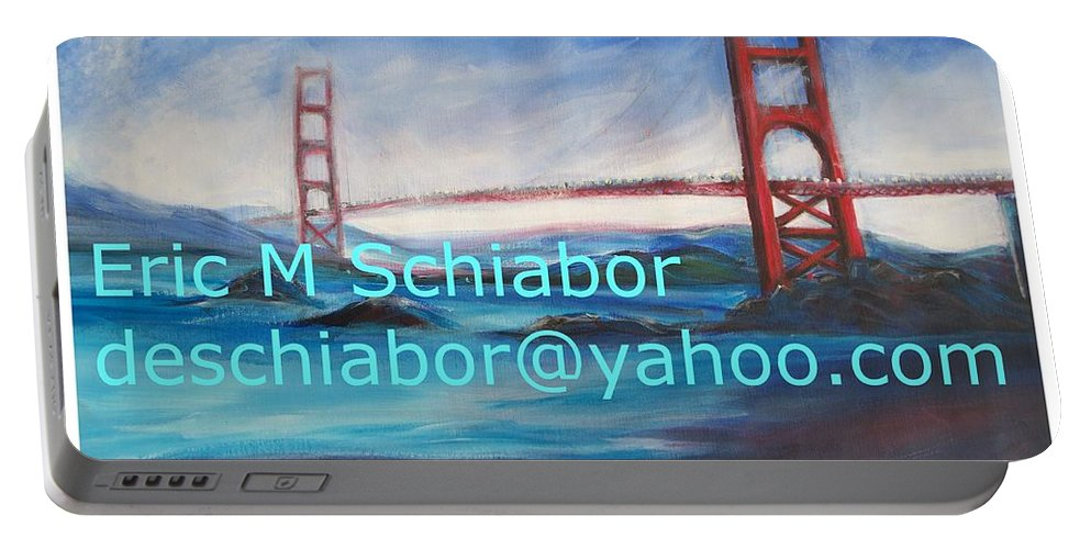 California Coast Portable Battery Charger featuring the painting San Francisco Golden Gate Bridge by Eric Schiabor
