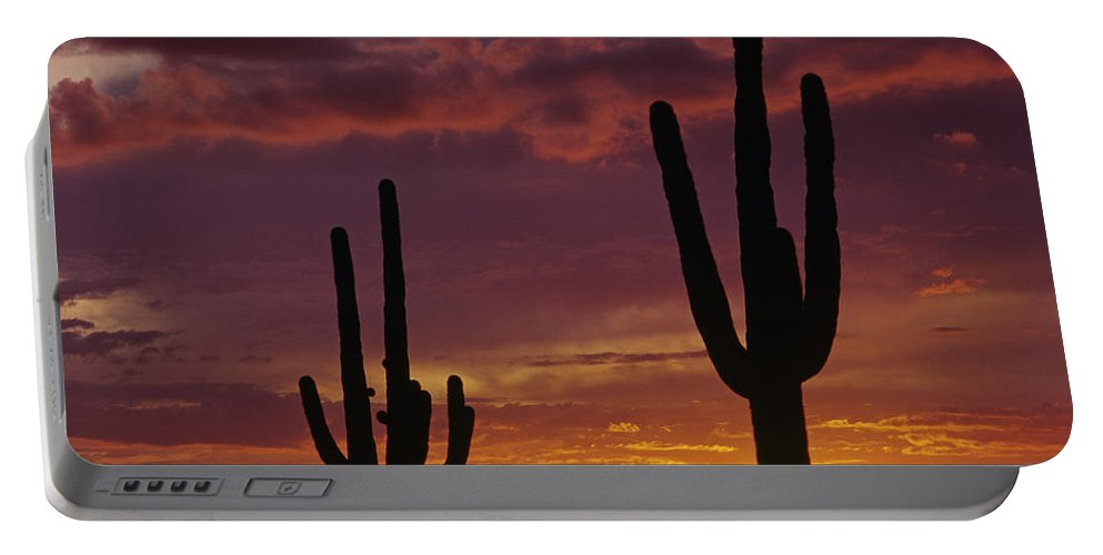 American Southwest Portable Battery Charger featuring the photograph Silhouetted Saguaro Cactus Sunset At Dusk Arizona State Usa by Jim Corwin