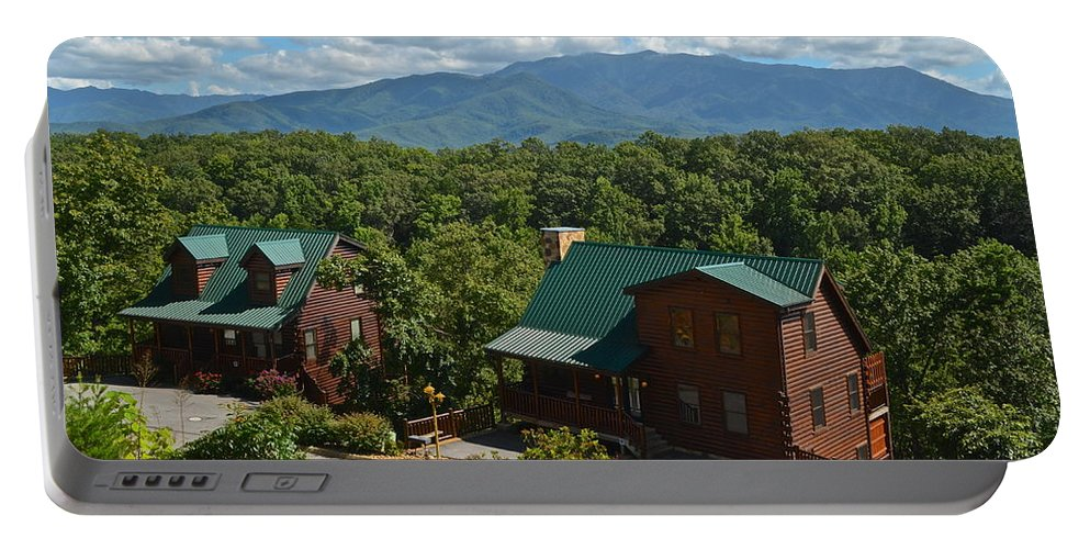Smoky Portable Battery Charger featuring the photograph Smoky Mountain Cabins by Frozen in Time Fine Art Photography