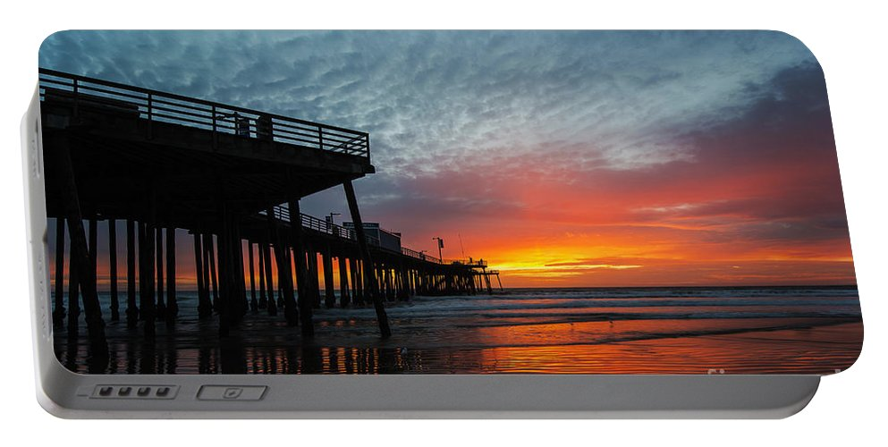 Sunset At Pismo Beach Pier Portable Battery Charger featuring the photograph Sunset At Pismo Beach Pier by Yefim Bam