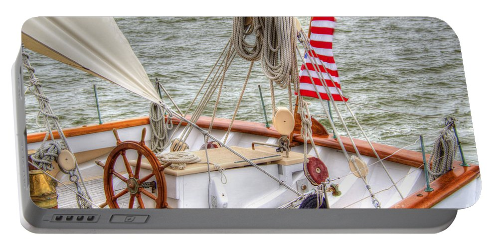 Tall Ships Portable Battery Charger featuring the photograph At The Helm by Dale Powell