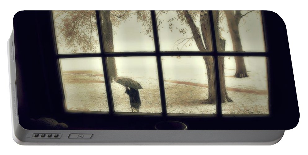 Groton School Portable Battery Charger featuring the photograph The October Snow by Marysue Ryan