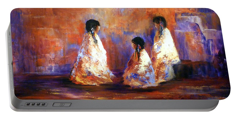 Southwest Art Portable Battery Charger featuring the painting The Story Teller by Sharon Abbott Furze