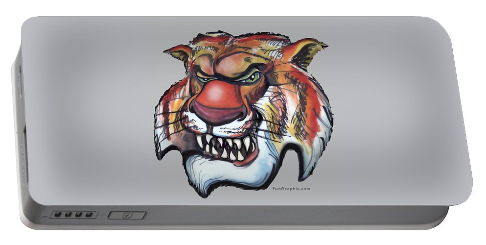Tiger Portable Battery Charger featuring the digital art Tiger by Kevin Middleton