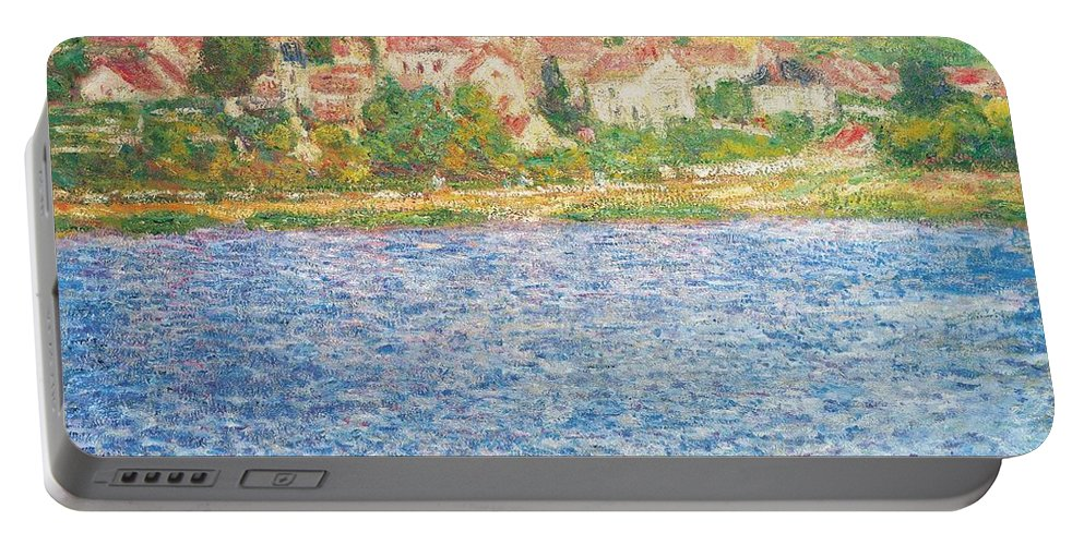 Vetheuil Portable Battery Charger featuring the painting Vetheuil by Claude Monet