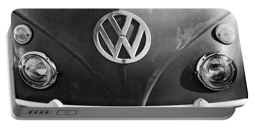 Volkswagen Vw Bus Front Emblem Portable Battery Charger featuring the photograph Volkswagen Vw Bus Front Emblem by Jill Reger