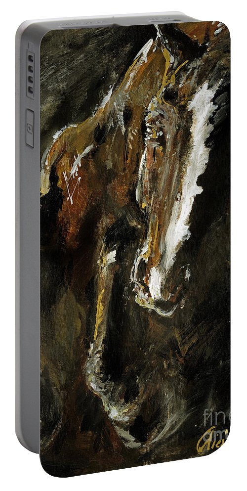 Horse Portable Battery Charger featuring the painting Wild Heart by Angel Ciesniarska