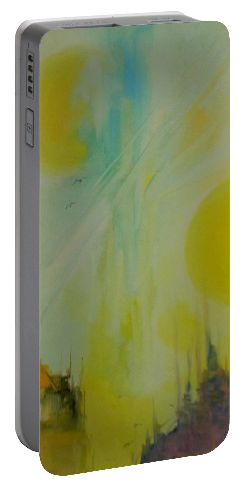 Abstract Portable Battery Charger featuring the painting Abstract Exhibit by Lord Frederick Lyle Morris - Disabled Veteran