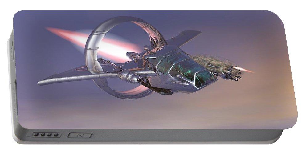 Digital Art Portable Battery Charger featuring the digital art 30 Mm Gunfighter by Michael Wimer