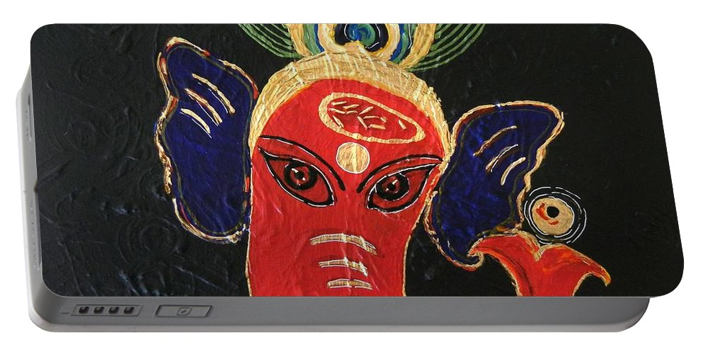 Ganesha Portable Battery Charger featuring the painting 34 Ganadhakshya Ganesha by Kruti Shah