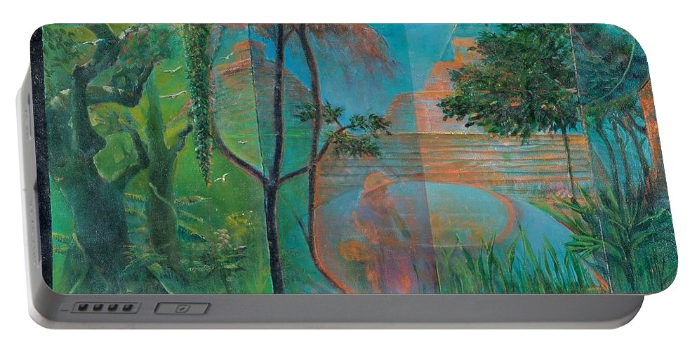 Mayan Ruins Portable Battery Charger featuring the painting Title Unknown by Edward David Lambert