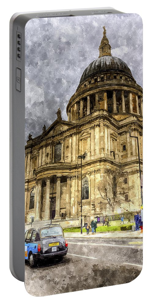 Vintage Portable Battery Charger featuring the digital art St Paul's Cathedral London by David Pyatt