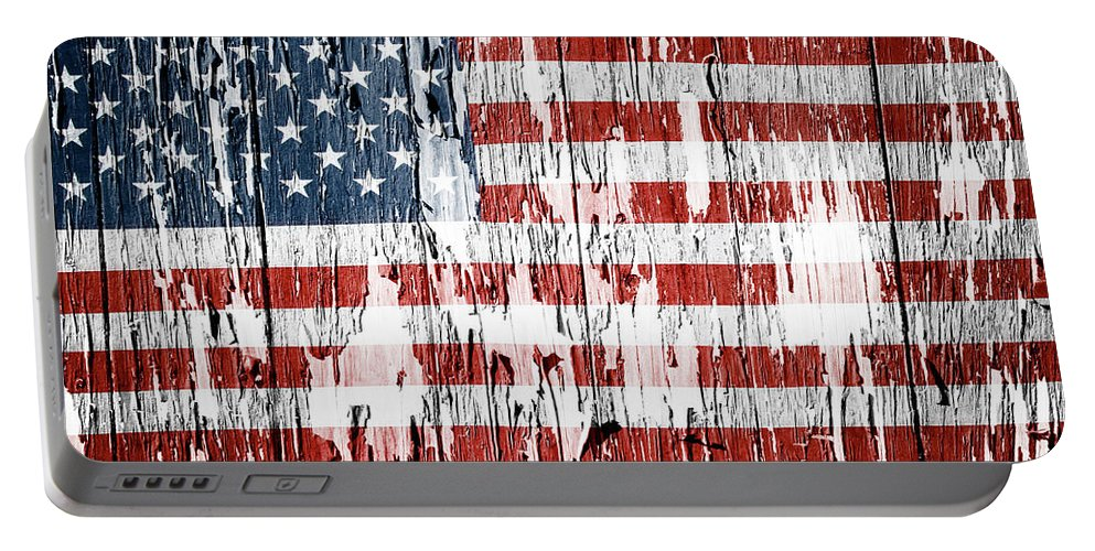 Flag Portable Battery Charger featuring the photograph American flag grunge effect by Les Cunliffe