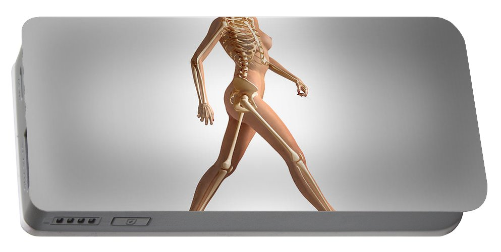 Three Dimensional Portable Battery Charger featuring the digital art 3d Rendering Of A Naked Woman Walking by Leonello Calvetti