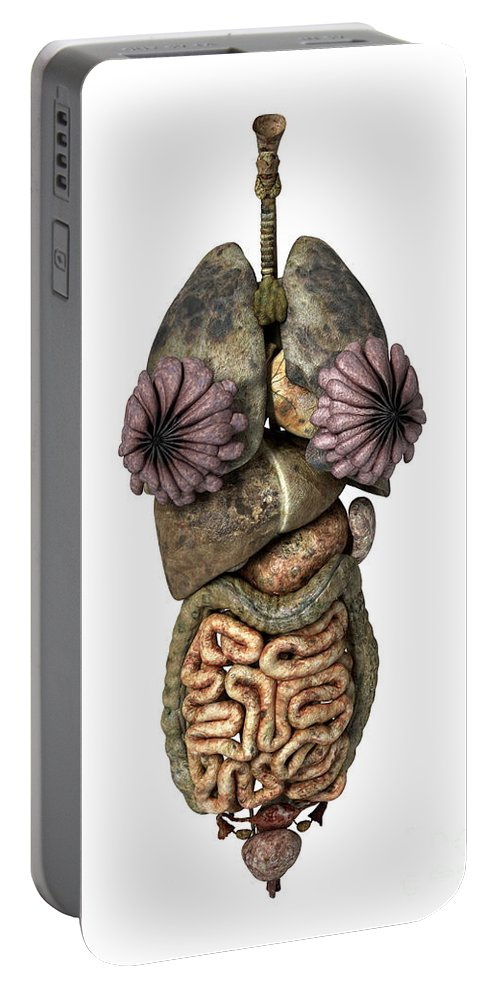 Three Dimensional Portable Battery Charger featuring the digital art 3d Rendering Of Unhealthy Female by Leonello Calvetti