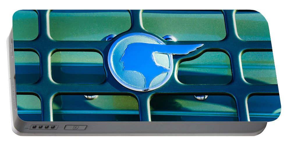 1933 Pontiac Emblem Portable Battery Charger featuring the photograph 1933 Pontiac Emblem -0467c by Jill Reger
