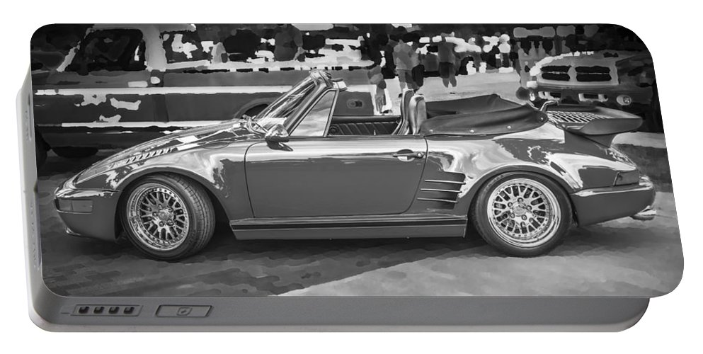 1984 Porsche Portable Battery Charger featuring the photograph 1984 Porsche 911 Carrera Cabriolet Slant Nose Bw by Rich Franco
